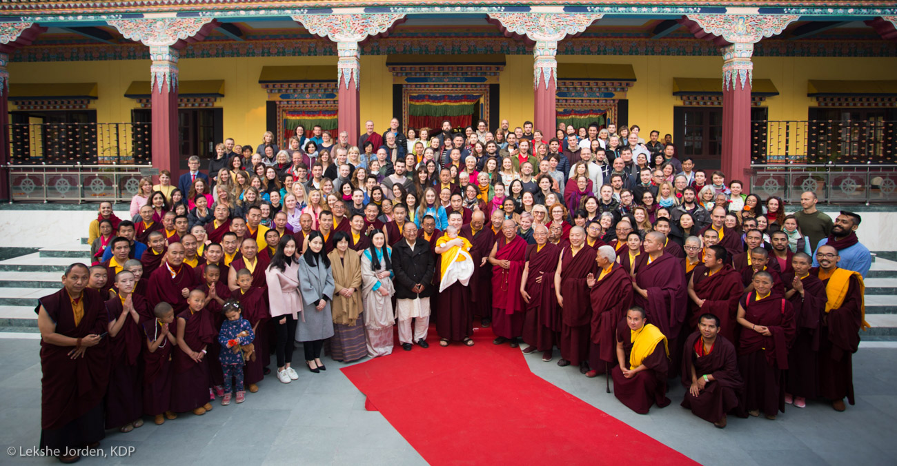 LJ-190102-01-005 Karmapa, Sangyumla, Thugsey, Yum Mrs Kunzang, and other members of the family, together with Rinpoches, monks, KIBI staff and lay students at the Public Meditation Course 2018/2019