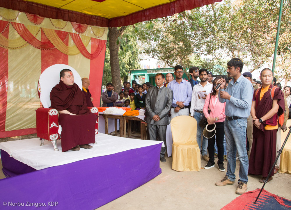 Gyalwa Karmapa Visits the Bodhi Tree School in Bodh Gaya
