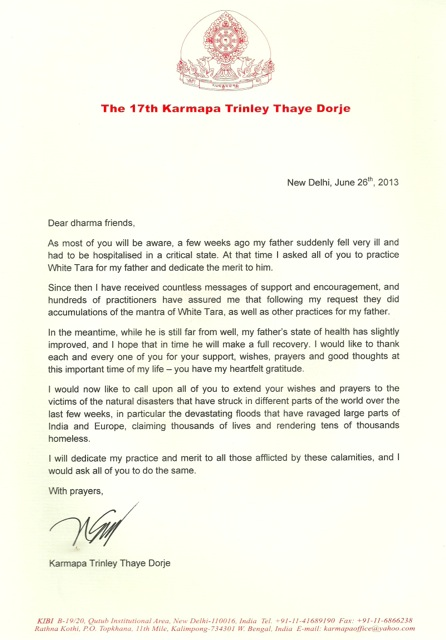 Thank you letter for Mipham Rinpoche