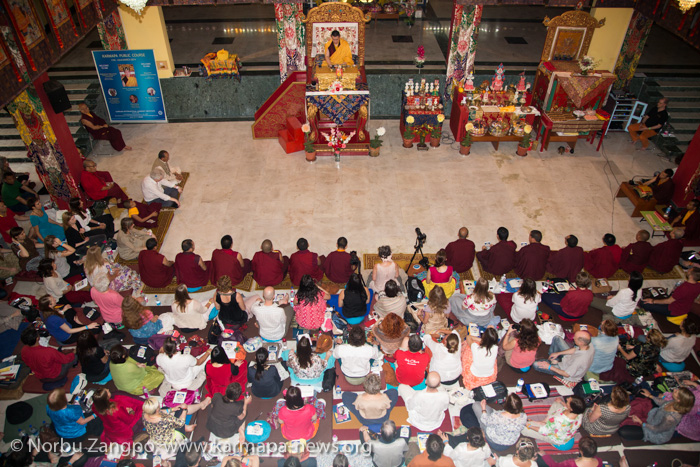 His Holiness the 17th Karmapa transmits the empowerment of Namgy