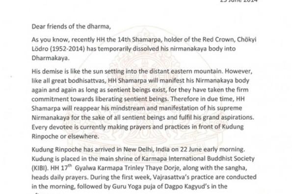 Cremation ceremony od Kunzig Shamar Rinpoche letter part 1