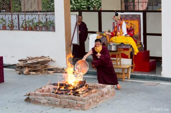 Korlo Demchog Fire Puja in the evening with Gyalwa Karmapa