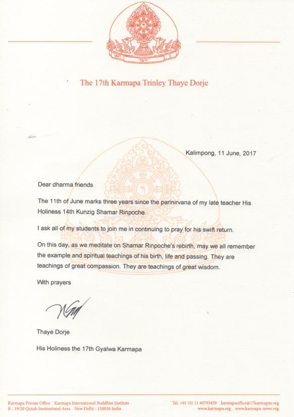 2017-06-11-Third-anniversary-Shamar-Rinpoche-parinirvana