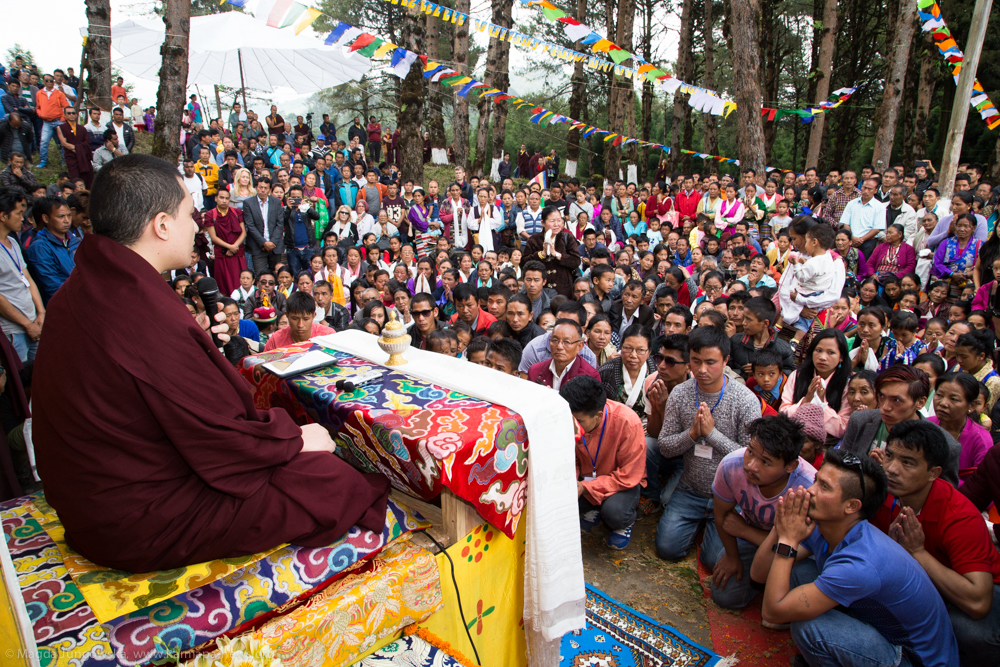 14.06.2017 Inauguration of Mani Lhakang in Dotray villlage in Darjeeling. Gyalwa Karmapa gives teaching and Chenresig Lung.