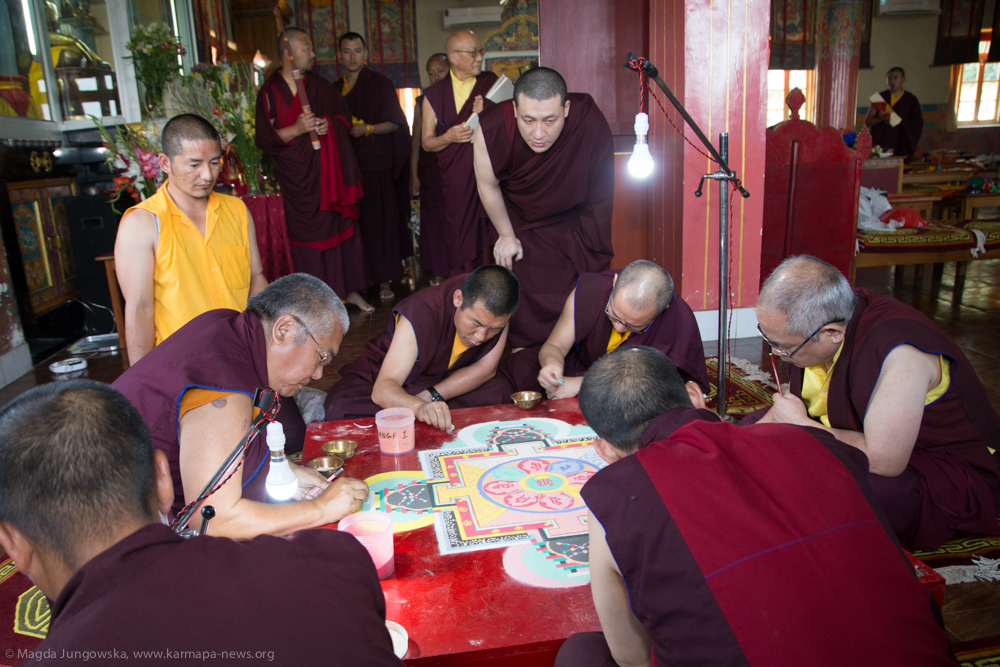Second day of Gyalwa Gyamtso Puja in Kalimpong. Preparation of the Sand Mandala