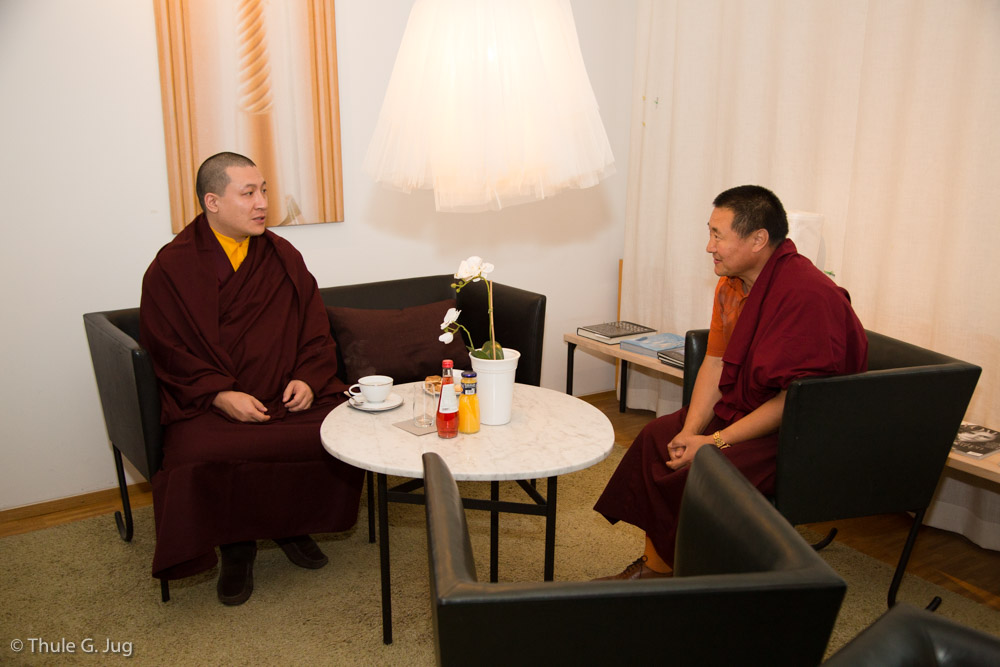 Gyalwa Karmapa arrives in Sweden from Geneva and is welcomed by Lama Tsultim Gyaltso Rinpoche