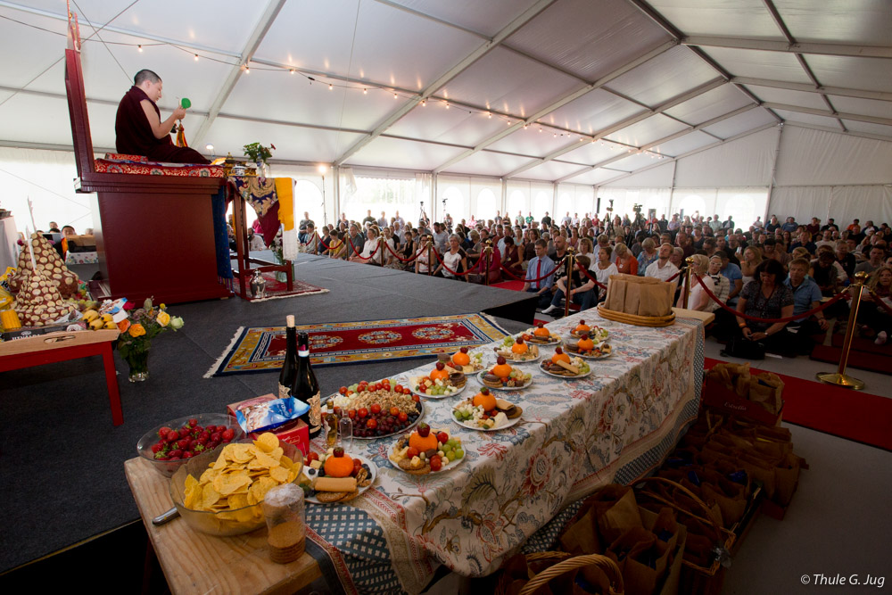Milarepa Tsog with Mandala Offerings to the Karmapa.