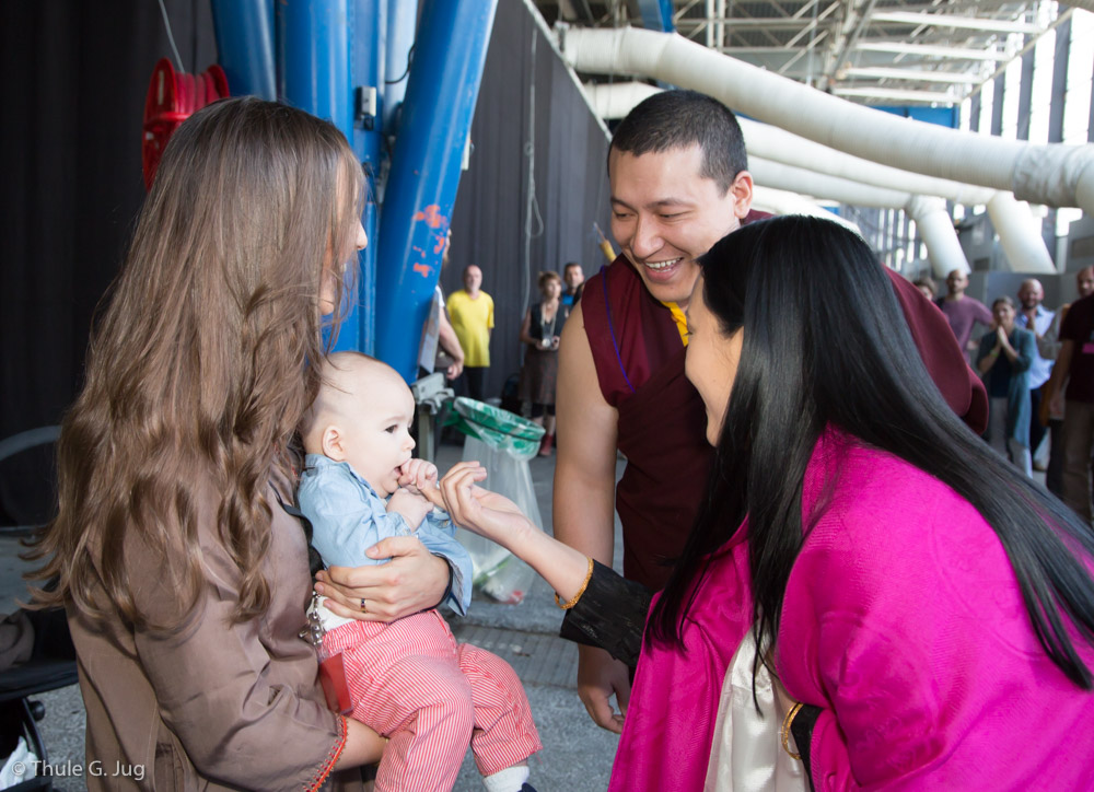 Gyalwa Karmapa and his wife with Victor, the son of Trinley Rinpoche and his wife Giselle