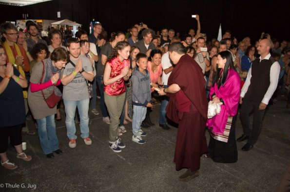 Gyalwa Karmapa comes with Sangjumla, his wife to the teaching