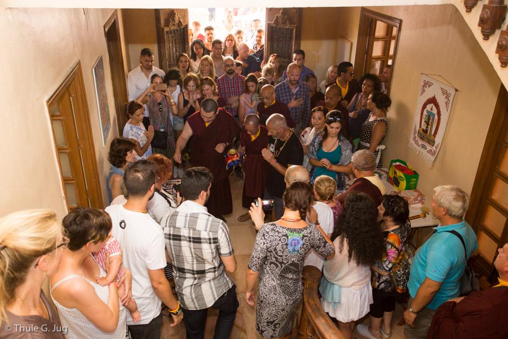 Gyalwa Karmapa, Jigme Rinpoche, Lamas and entourage visit the new Diamondway Center in Granada