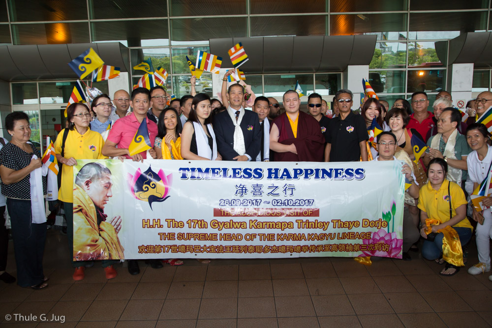HH Gyalwa Karmapa arrives at Kuching International Airport and is welcomed by the local organisers, venerable teachers, monks, nuns and many followers.