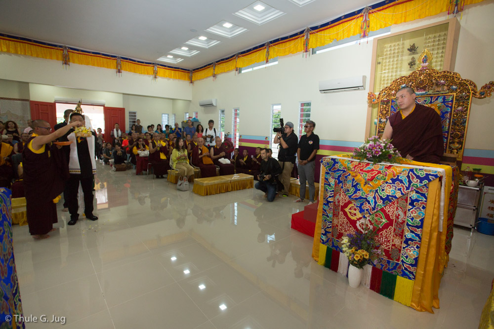 His Holiness Gyalwa Karmapa arrives at the new Kuching Karma Kagyu Dharma Society. Welcoming ceremony and body- speech- and mind offering by the people in charge of the center.