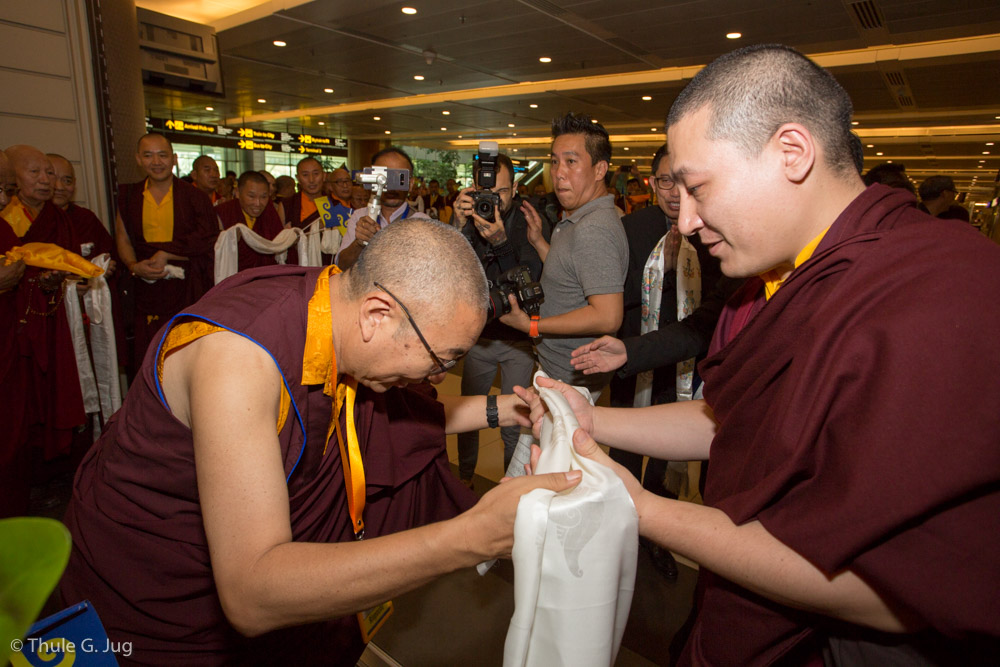His Holiness Gyalwa Karmapa and his entourage arrive from Kuching. Shangpa Rinpoche welcomes His Holiness