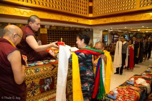 Members of the center offering Ku Sung Tuk to Gyalwa Karmapa