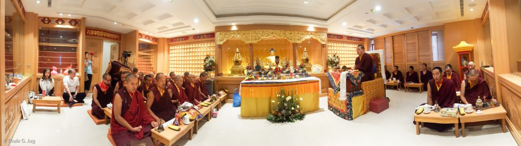 Jang Chog Puja for the deceased with His Holiness Gyalwa Karmapa in the Amitabha room