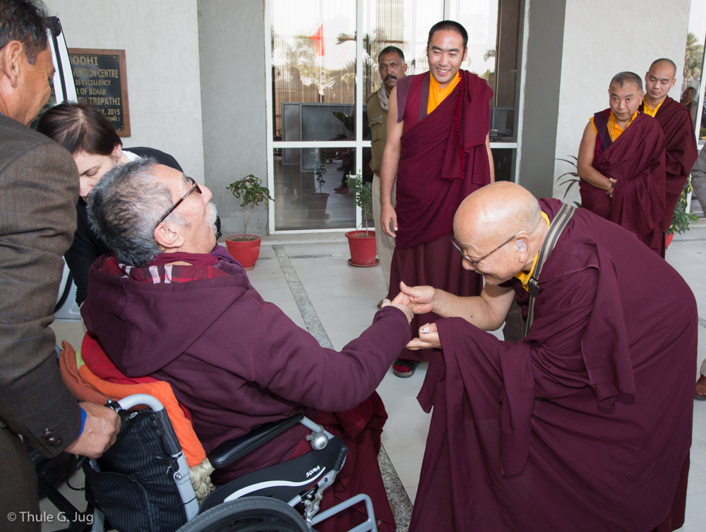 Mipham Rinpoche and Mayumla are welcomed by Gyalwa Karmapa, Sangyumla and her family at the hotel lobby