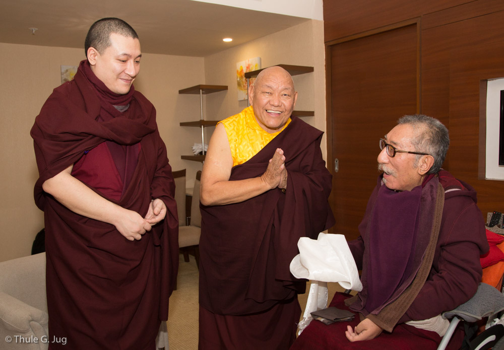 Beru Khyentse Rinpoche comes to welcome Mipham Rinpoche and Mayumla. Together with Gyalwa Karmapa they come together in the hotel room.