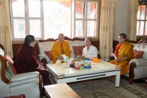 The abbot of Wat Suthat Royal Monastery in Bangkok, Thailand, Ven. Chao Khun Phva Dhammavatanadilok comes to meet Gyalwa Karmapa