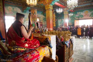 Gyalwa Karmapa in Bodh Gaya, Dec. 6 to 23, 2017. Mandala offerin