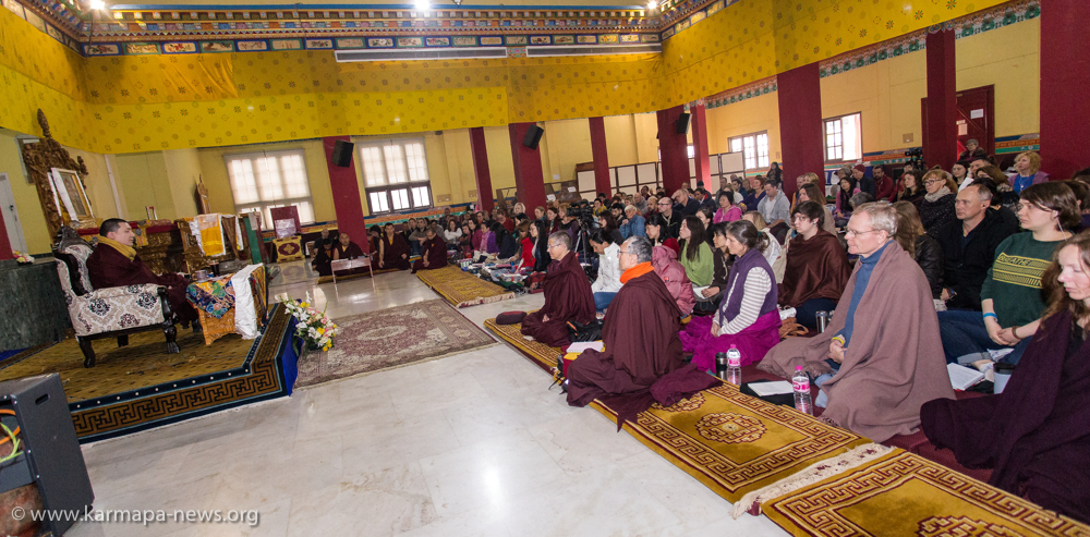 Approximately 250 participants gathered in the main hall (Lhakang) of Karmapa International Buddhist Institute (KIBI) to receive dharma teachings
