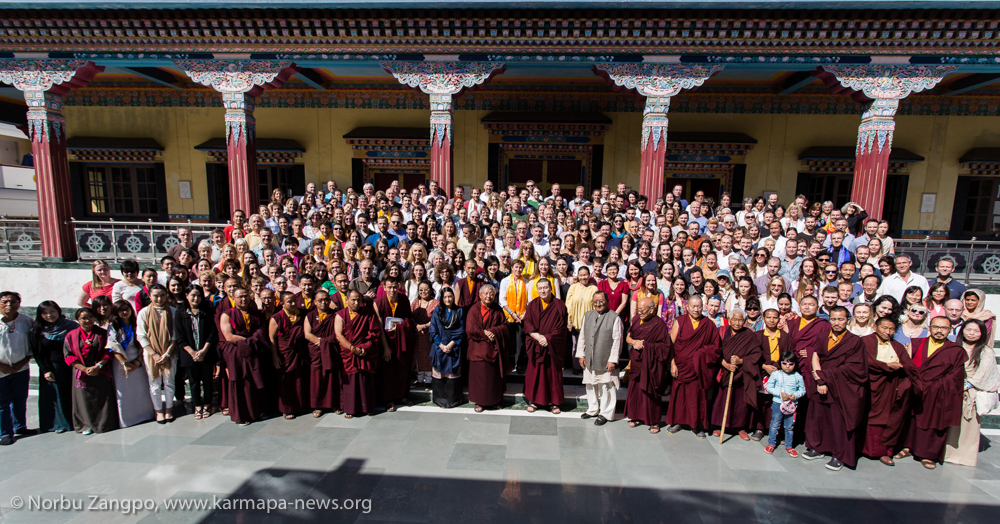 Thaye Dorje, His Holiness the 17th Gyalwa Karmapa, Jigme Rinpoche, Karmapa's wife Sangyumla, Professor Sempa Dorje, Monastic Sangha of KIBI, and all participants of the Karmapa Public Course 2018