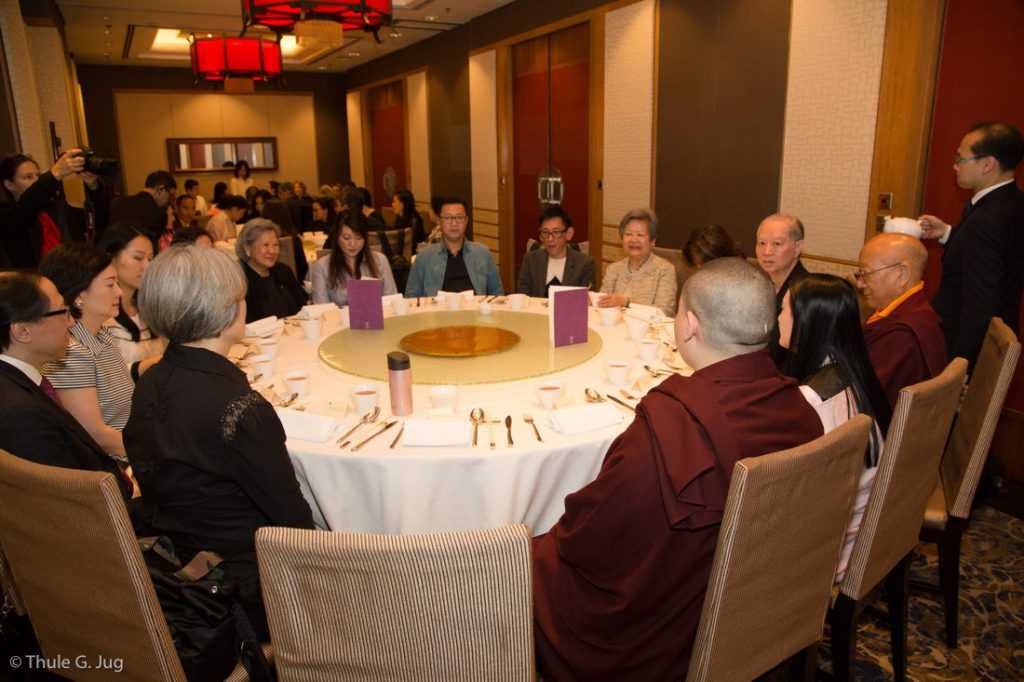 Sponsors of the event in Hong Kong have lunch with Karmapa