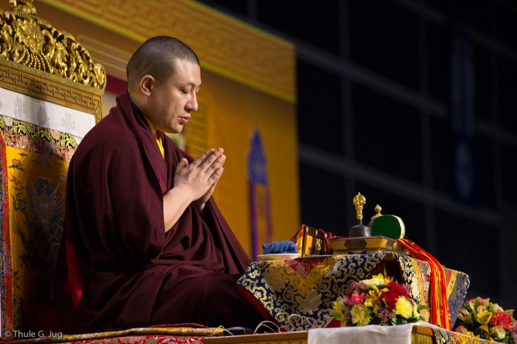 Thaye Dorje, His Holiness the 17th Gyalwa Karmapa, presides over a Kagyu Monlam in Hong Kong