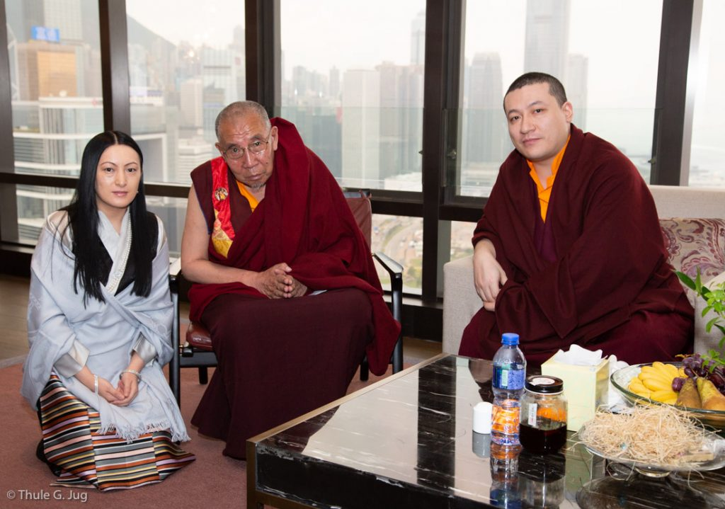 Thaye Dorje, His Holiness the 17th Gyalwa Karmapa, with Ado Rinpoche and Sangyumla