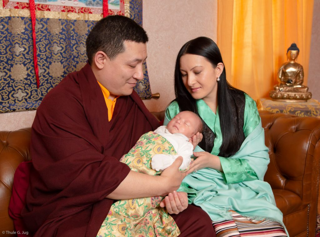 Thaye Dorje, His Holiness the 17th Gyalwa Karmapa, with his wife Sangyumla Rinchen Yangzom, and their newborn son Thugsey
