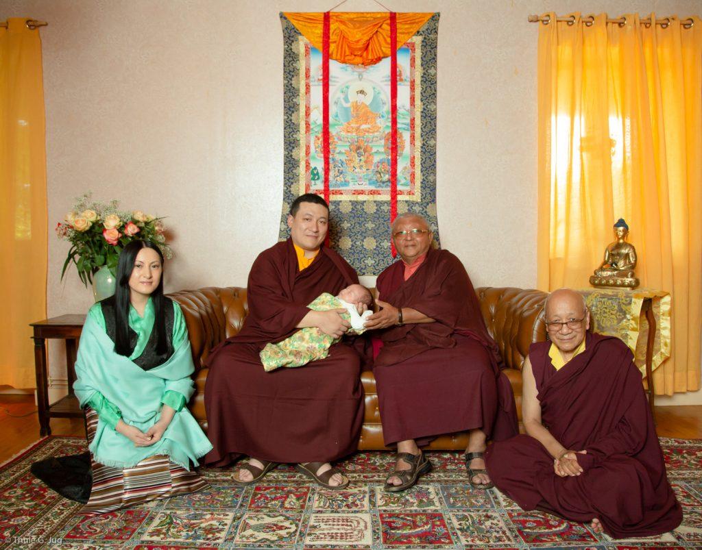 (Left to right) Sangyumla Rinchen Yangzom; Thaye Dorje, His Holiness the 17th Gyalwa Karmapa; their son Thugsey; Jigme Rinpoche, Karmapa's General Secretary; Solponla Tsultrim Namgyal, Karmapa's Senior Attendant