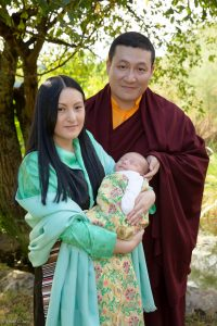 Thaye Dorje, His Holiness the 17th Gyalwa Karmapa, with Sangyumla Rinchen Yangzom, and their newborn son Thugsey