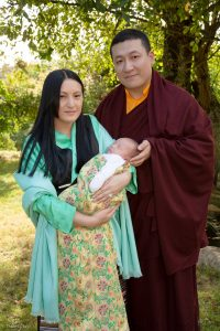 Thaye Dorje, His Holiness the 17th Gyalwa Karmapa, with Sangyumla Rinchen Yangzom, and their newborn son Thugsey