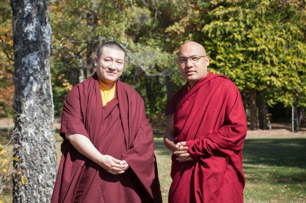 His Holiness Trinley Thaye Dorje and His Holiness Ogyen Trinley Dorje during their first meeting, in France