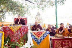Thaye Dorje, His Holiness the 17th Gyalwa Karmapa, leads prayers at the Kagyu Monlam, Bodh Gaya, December 2018