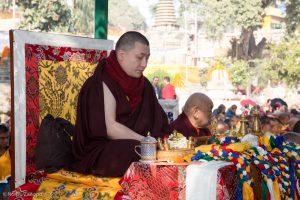 Thaye Dorje, His Holiness the 17th Gyalwa Karmapa, at the Kagyu Monlam in Bodh Gaya. Beside him is His Eminence Beru Khyentse Rinpoche