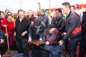 Master Shiah and students during the symbolic groundbreaking ceremony for the new monastery Karma Karsal Ling