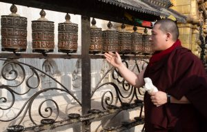 Karmapa visited Swayambhu, (Tibetan for 'Sublime Trees'), an ancient Buddhist architecture on top of a tree-lined hill in the Kathmandu Valley.