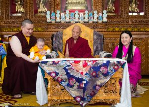 (Left to right) Thaye Dorje, His Holiness the 17th Gyalwa Karmapa, Thugsey, His Eminence Luding Khenchen Rinpoche, Sangyumla