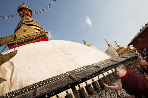 Gyalwa Karmapa visits Swayambhu and the monastery which was destroyed by the earth quake 2015