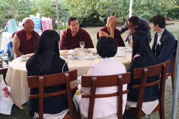 Gyalwa-Karmapa-and-his-wife-Sangyumla-come-to-Dhagpo-Kagyu-Ling-with-their-1-month-old-baby.-Dinner-with-the-residents