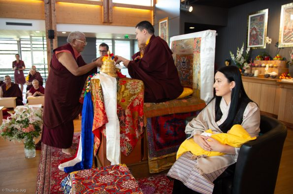 Jigme-Rinpoche-Karmapas-General-Secretary-makes-an-offering-of-ku-sung-thuk-to-Thaye-Dorje-His-Holiness-the-17th-Gyalwa-Karmapa-during-a-special-reception-at-Dhagpo-Kagyu-Ling