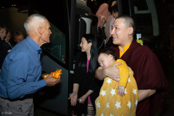 Thaye-Dorje-His-Holiness-the-17th-Gyalwa-Karmapa-Sangyumla-and-their-son-Thugsey-arrive-at-The-Europe-Center-in-Germany
